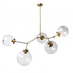 Lámpara de techo, armazón de latón en acabado mate, 5 luces, con bolas de cristal transparentes de varias medidas.