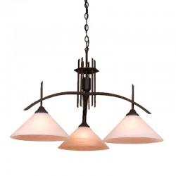 Lámpara de techo, Serie Arcus, armazón metálico en acabado negro, 3 luces, con tulipa