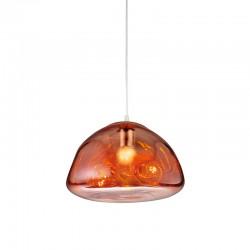 Lámpara de techo colgante, Serie Lici, metal en acabado cromo, cristal en acabado cobre.