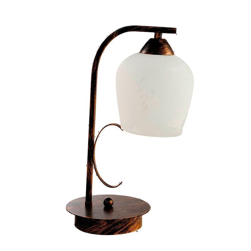 Lámpara de sobremesa, Serie Campanas, armazón metálico en acabado oro envejecido, 1 luz, con tulipa