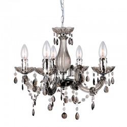 Lámpara de techo, Serie Florencia, armazón acrílico en acabado fumé, con detalles metálicos en acabado cromo, 5 luces, con vela.