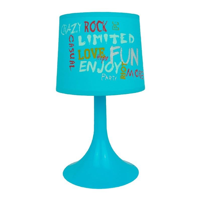 Lámpara de sobremesa, Serie Funny, armazón acrílico azul, 1 luz, con pantalla de tela. Cable con interruptor.