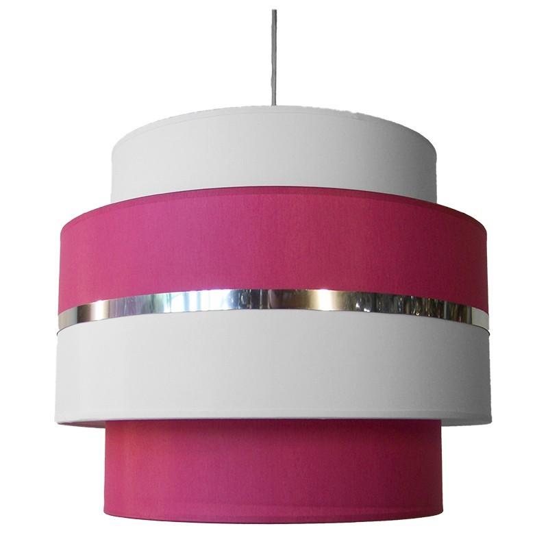 Lámpara de techo colgante, armazón metálico en acabado cromo brillo, 3 luces, con pantalla combinada 3 pisos.