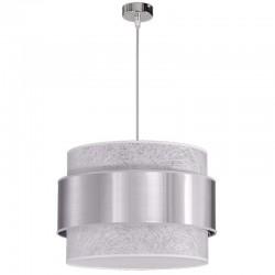 Lámpara de techo colgante, de doble pantalla Ø 45 cm, cilíndrica combinada, interior en tela Fibra blanca, exterior en Aluminio.