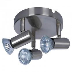 Lámpara de techo plafón, tipo focos, Serie Basic, armazón metálico en acabado níquel satinado, 3 luces orientables.