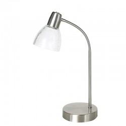 Lámpara de sobremesa, Serie Banus, armazón metálico en acabado níquel satinado, 1 luz, brazo flexible, con tulipa