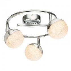 Lámpara de techo plafón LED, Serie Itaca, armazón metálico en acabado cromo, iluminación LED integrada, 3 luces