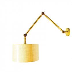 Aplique de pared, armazón de latón, 1 luz, brazo articulado, con pantalla Ø 30 cm