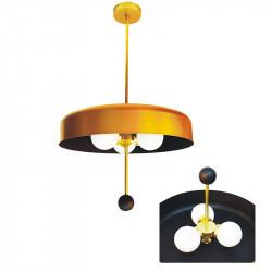 Lámpara de techo colgante, armazón de latón en acabado satinado y metal en acabado dorado, 3 luces