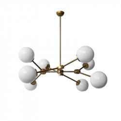 Lámpara de techo, armazón metálico en acabado dorado, 8 luces, con difusor en bola Ø 14 cm, en vidrio soplado en acabado opal.