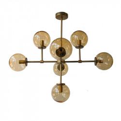 Lámpara de techo, armazón metálico en acabado dorado, 7 luces, con difusores en bola Ø 14 cm, en vidrio soplado acabado fumé.