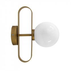 Aplique de pared, armazón metálico en acabado dorado, 1 luz, con difusor en bola Ø 14 cm