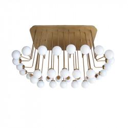 Lámpara de techo, armazón metálico en acabado dorado, 34 luces, con difusores en bola Ø 12 cm, en vidrio soplado acabado opal.