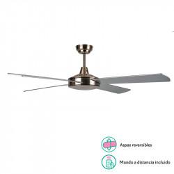 Ventilador de techo sin luz, Serie Ostro, armazón en acabado níquel, 4 aspas reversibles Níquel/Plata, 3 velocidades