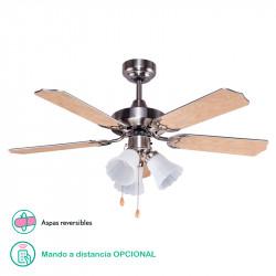 Ventilador de techo con luz, Serie Garbin, armazón en acabado níquel, 5 aspas reversibles Haya/Plata, 3 velocidades