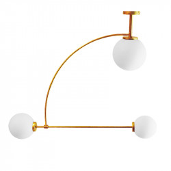 Lámpara de techo, armazón de latón en acabado satinado, 3 luces, con difusores de vidrio soplado