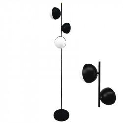 Lámpara pie de salón, armazón metálico en acabado negro, con elementos decorativos de latón