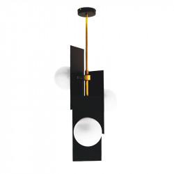 Lámpara de techo, armazón de latón en acabado satinado, con elementos metálicos en acabado negro