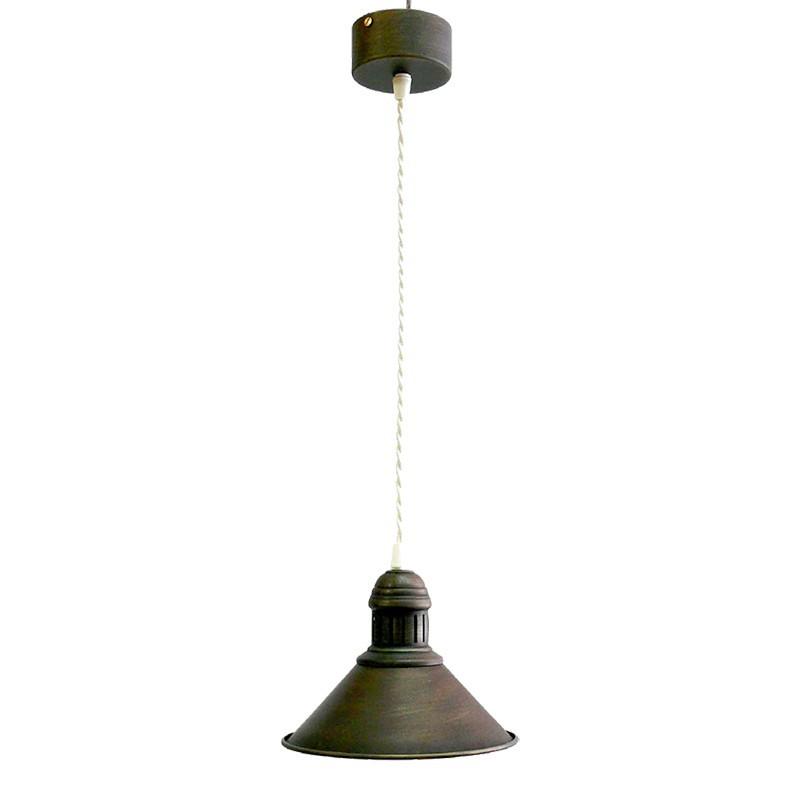 Lámpara de techo colgante estilo retro, armazón metálico en varios acabados, con cable trenzado marrón, 1 luz