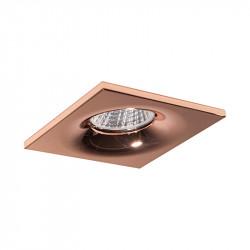 Aro empotrable cuadrado, Serie NC1761SQ, armazón de aluminio en acabado cobre, 1 luz GU10, 88x88 mm. Corte Ø 70 mm.