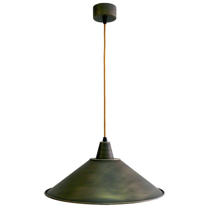 Lámpara de techo colgante, estilo retro, armazón metálico en varios acabados, con cable de plancha marrón, 1 luz
