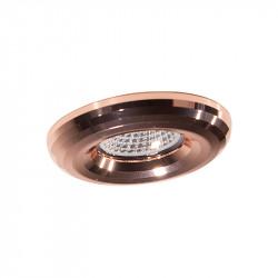 Aro empotrable redondon, Serie NC1897, armazón de aluminio en acabado cobre brillante, 1 luz GU10, Ø 88 mm. Corte Ø 70 mm.