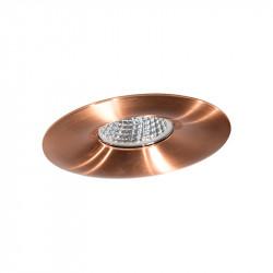 Aro empotrable redondo, Serie NC1765R, armazón de aluminio en acabado cobre brillante, 1 luz GU10, Ø 98 mm. Corte Ø 70 mm.