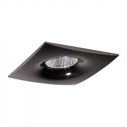 Aro empotrable cuadrado, Serie NC1765SQ, armazón de aluminio en acabado negro grafito, 1 luz GU10, 98x98 mm. Corte Ø 70 mm.