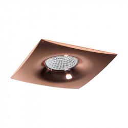 Aro empotrable cuadrado, Serie NC1765SQ, armazón de aluminio en acabado cobre brillante, 1 luz GU10, 98x98 mm. Corte Ø 70 mm.
