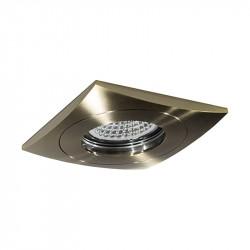 Aro empotrable cuadrado, Serie NC902, armazón de aluminio en acabado cuero, 1 luz GU10, 84x84 mm. Corte Ø 65 mm.