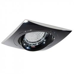 Aro empotrable cuadrado, Serie NC1781SQ, armazón de aluminio en acabado cromo brillo, 1 luz GU10 orientable