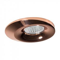 Aro empotrable redondo, Serie NC1777, armazón de aluminio en acabado cobre brillante, 1 luz GU10, Ø 96 mm. Corte Ø 70 mm.
