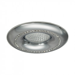 Aro empotrable redondo, Serie NC1768R, armazón de aluminio en acabado cromo brillo, decorado con cristal