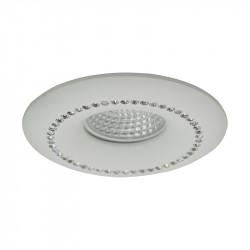 Aro empotrable redondo, Serie NC1768R, armazón de aluminio en acabado blanco, decorado con cristal
