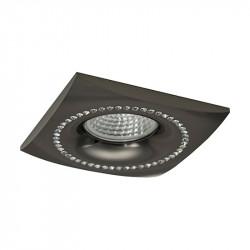 Aro empotrable cuadrado, Serie NC1768SQ, armazón de aluminio en acabado negro grafito, decorado con cristal