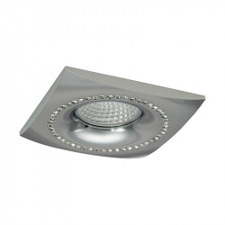 Aro empotrable cuadrado, Serie NC1768SQ, armazón de aluminio en acabado cromo brillo, decorado con cristal