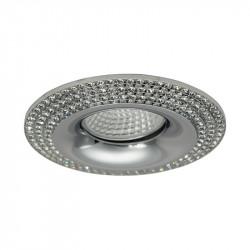 Aro empotrable redondo, Serie NC1769R, armazón de aluminio en acabado cromo brillo, decorado con cristal