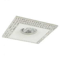 Aro empotrable cuadrado, Serie NC1769SQ, armazón de aluminio en acabado blanco, decorado con cristal