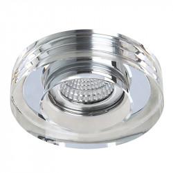 Aro empotrable redondo, Serie SC760R, armazón de cristal en acabado transparente, 1 luz GU10, Ø 100 mm. Corte Ø 65 mm.