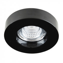 Aro empotrable redondo, Serie SC760R, armazón de cristal en acabado negro, 1 luz GU10, Ø 100 mm. Corte Ø 65 mm.