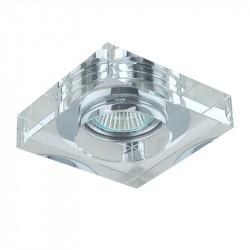 Aro empotrable cuadrado, Serie SC760SQ, armazón de cristal en acabado transparente, 1 luz GU10, 100x100 mm. Corte Ø 65 mm.