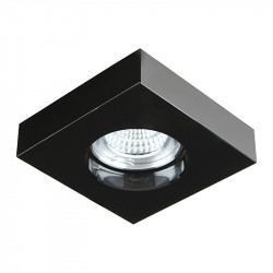 Aro empotrable cuadrado, Serie SC760SQ, armazón de cristal en acabado negro, 1 luz GU10, 100x100 mm. Corte Ø 65 mm.