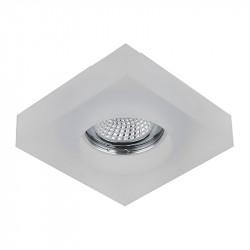 Aro empotrable cuadrado, Serie SC760SQ, armazón de cristal en acabado translucido, 1 luz GU10, 100x100 mm. Corte Ø 65 mm.