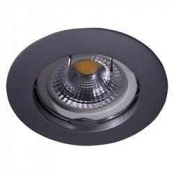 Aro empotrable redondo, Serie NC1301, armazón de aluminio en acabado gris plomo, 1 luz GU10, Ø 78 mm. Corte Ø 65 mm.