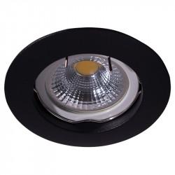 Aro empotrable redondo, Serie NC1301, armazón de aluminio en acabado negro texturizado, 1 luz GU10, Ø 78 mm. Corte Ø 65 mm.