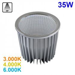 Lámpara bloque LED 35W, 2.465lm, 3.000K, 4.000K o 6.000K, 38º de apertura, sin parpadeo. Compatible con QR111.