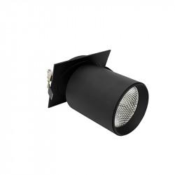 Foco empotrable, Serie NC2156, orientable 360º, armazón de aluminio en acabado negro texturizado, para bloque 20W