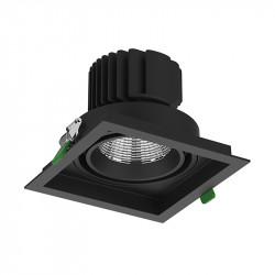Aro empotrable cuadrado, Serie LD641, armazón de aluminio en acabado negro texturizado, 175x175 mm. Corte 160x160 mm.