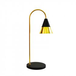 Lámpara flexo, armazón de latón y metal en acabado negro, 1 luz, con difusor metálico en latón. Cable con interruptor.