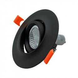 Aro empotrable, Serie NC2161R, armazón de aluminio en acabado negro texturizado, 1xGU10, orientable 80º. Sin Bombilla.